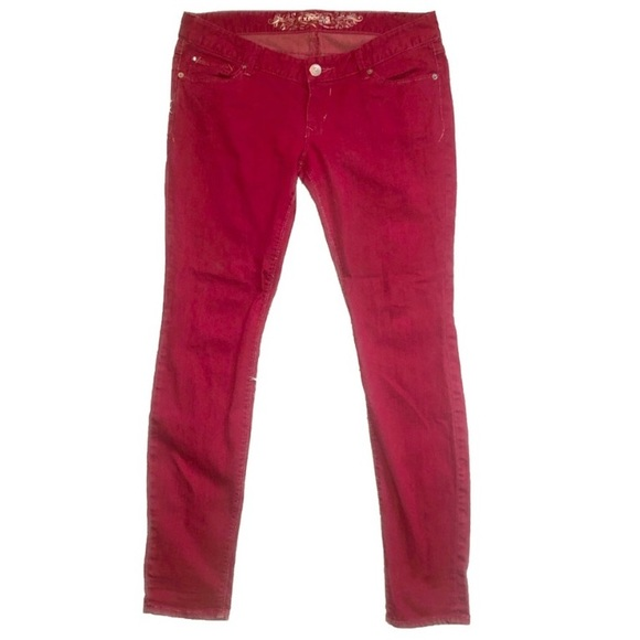 Express Denim - Dark Merlot Skinny Jeans